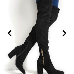 HIVA BLOCK HEEL OVER-THE-KNEE BOOTS black size 9
